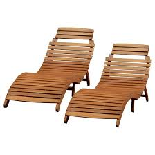 Lahaina Set 2 Acacia Wood Patio Chaise Lounge Natural Yellow