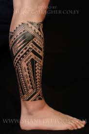Samoan Tribal Leg Tattoo For Men