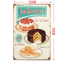 European Retro style Cake shop sign board metal Wall stickers iron crafts picture Furnishing articles painting draw bar house in Wall Stickers from Home