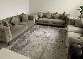3x taube beige wohnzimmer sitz garnitur sofa