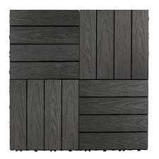 Naturale Composite 12 X Interlocking Deck Tiles In Hawaiian Charcoal