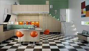 KitchenModern Kitchen Design With Unique Orange Chair And Black White Floor Idea Captivating