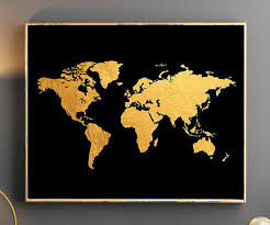 Gold World Map Wall Art Poster Golden Watercolor Wallpaper Large Travel
