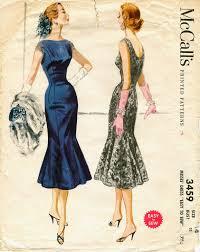 McCalls 3459 Vintage 1950s Rockabilly Fishtail Cocktail Party Dress Pattern B32
