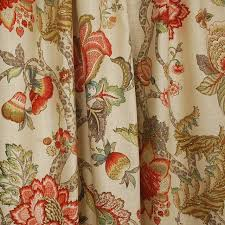 Jacobean Floral Design Curtains by Malawi Khaki Floral Jacobean Fabric Traditional Drapery Fabric