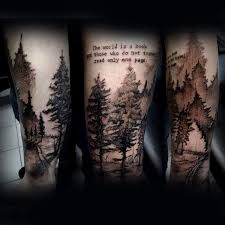 Watercolor Male Forearm Tree Tattoo With Quote