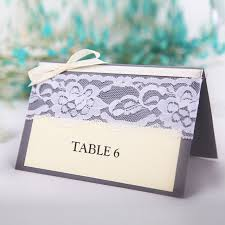 10PCS Retro Guest Name Table Place Cards Lace Ribbon Flower Paper Folding Rustic Wedding