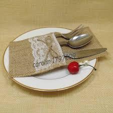 12pcs Lot Table Silverware Holder Natural Burlap Knife Fork Pockets Vintage Wedding Rustic