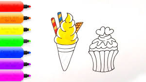 How To Draw Ice Cream Cup Coloring Pages For Kids