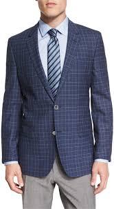 hugo plaid suit hugo hutsons plaid slim fit wool sport coat blue