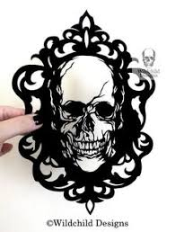 Cameo Skull Gothic Halloween Silhouette Paper Cutting Template For Personal Or Commercial Use Papercut Cut By Wildchild Designs Death Frame
