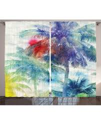 Tropical Window Art Curtains by Curtain Watercolor Palm Retro Print 2 Panel Window Drapes