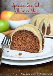 Applesauce Spice Cake with Caramel Glaze Kitchen Concoctions