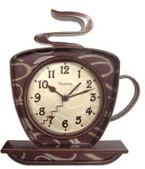 Brown Coffee Kitchen Decor With Centre Clock Also Cup Saucer Shaped