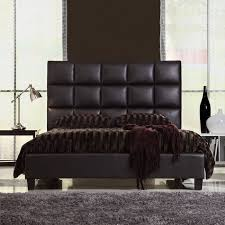 queen size modern bed with faux leather headboard home dec