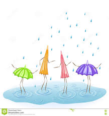 Umbrella Dancing In The Rain Stock Vector