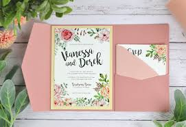 Pictured Invitation On Snow White Mat In Birch Wood Signature Plus Pocket Dusty Rose A2 RSVP Envelope Cipria