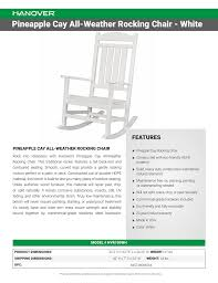 Pineapple Cay All-Weather Rocking Chair - White FEATURES ... Wooden Front Porch Rocking Chairs Pineapple Cay Allweather Chair White Features Amazoncom Xue Heavy Duty Sunnady 350 Lbs Durable Solid Wood Outdoor Rustic Rocker Camping Folding For Nursery Zygxq Garden Centerville Amish 800 Lb Classic Treated Double Ash Livingroom Indoor Best Home 500lb Heavy Duty Metal Patio Bench Glider
