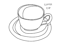Banner Black And White Library Line Drawing Of Everyday Objects Coffee