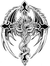 Tribal Dragon Sword And Wings Tattoo Stencil Photo 1