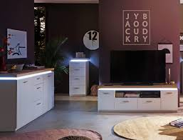 wohnzimmer 53 weiss wotan eiche nb 3 teilig tv wand led expendio