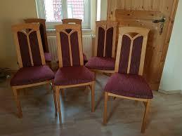 6 gepolsterte esszimmer stühle höffner in eiche burgunder