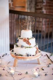 Buttercream Cake Stand Flowers Copper Dusky Lilac Grey Rustic Barn Wedding