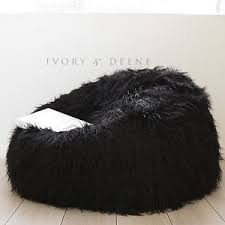 Image Is Loading Shaggy FUR BEANBAG Cover Soft Cloud Chair Black