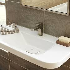 Trough Bathroom Sink With Two Faucets Canada by Bathroom Sinks Lyndon 33 Inch Wall Hung Trough Bathroom Sink By Dxv