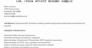 Truck Driver Qualifications For Resume Resumes Cdl Sample