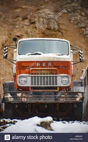An Orange And White 1956 REO Cabover Truck, In An Old Quarry, East ...