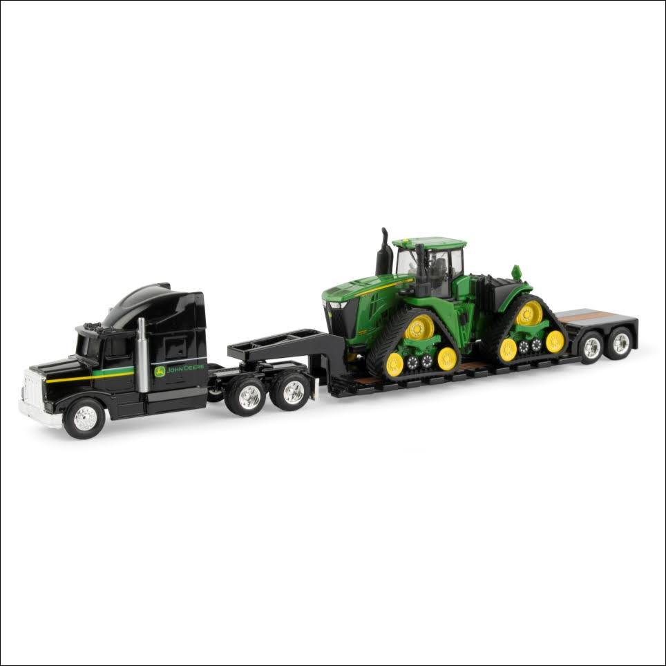 John Deere 9570RX Scraper Special with Semi and Lowboy Trailer- 1:64 Scale