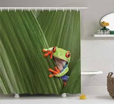 eyed baum frosch versteckt in exotischen makro blatt in costa rica regenwald tropical natur foto badezimmer dusche vorhang
