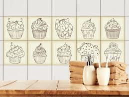details zu fliesenaufkleber küche 15x15 10x10 20x20cm fliesenfolie vintage retro cupcakes