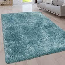 paco home hochflor wohnzimmer teppich waschbar shaggy uni in versch größen u farben grösse 120x160 cm farbe türkis