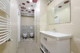 badezimmer interieur schrank mit spiegel wc und bidet stockfoto und mehr bilder ausrüstung und geräte