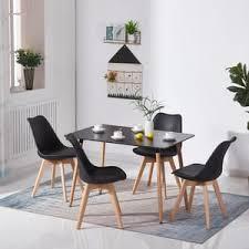 hj wedoo esstisch mit 4 schwarz stühlen esszimmer essgruppe runde 110x70x73cm tisch