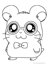 Hamtaro Color Page Cartoon Characters Coloring Pages Plate Sheetprintable