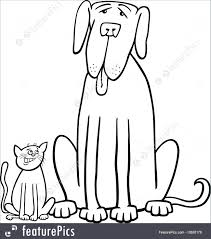 Domestic Animals Black And White Cartoon Illustration Of Cute Small Cat Funny Big Dog