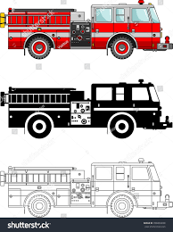 100 Black Fire Truck Different Kind S Isolated On Stock Vector Royalty Free