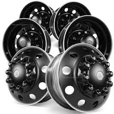 100 Truck Wheels And Tire Packages Alcoa 225 DuraBlack Forged Aluminum Semi Wheel Package