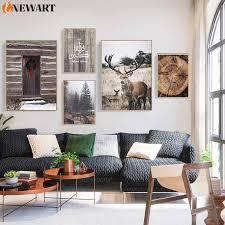 bauernhof holz tier elch weide wand kunst leinwand malerei natur dekoration wand bild poster wohnzimmer dekorative home design