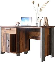 newfurn schreibtisch klein betonoptik dunkelgrau wood computertisch vintage industrial 126 5x73 5x60 cm bxhxt pc tisch laptoptisch