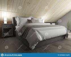 schlafzimmer auf einem dunklen boden gegen eine hölzerne