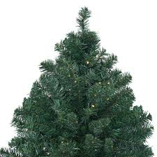 Costway 8Ft Pre Lit PVC Artificial Christmas Tree Hinged W 430 LED Lights