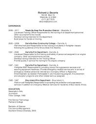 resume for firefighter paramedic richard decorie resume
