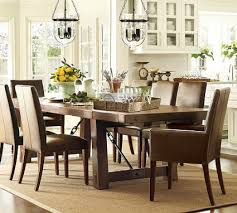 This Featured Inspiration Room By Pottery Barn Features A Rustic Wood And Iron Dining Table Classic Leather Parsons Chairs Unique Glass Light