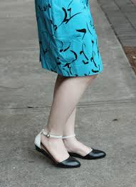 file black and white flats with a blue patterned dress
