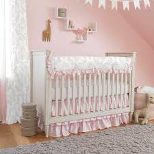 pink and gray crib bedding carousel designs