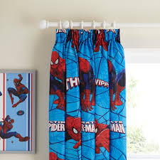Teal Blackout Curtains Pencil Pleat by Spiderman Blue U0026 Red Pencil Pleat Children U0027s Curtains W 168 Cm L
